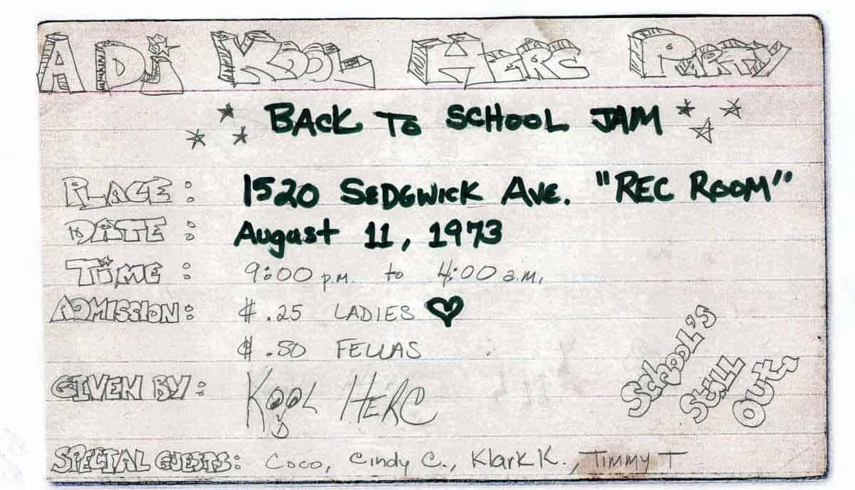 Tờ rơi quảng cáo buổi party Hip Hop do DJ Kool Herc tổ chức năm 1973